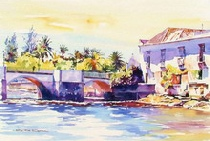 Clive Cook's painting of Tavira bridge