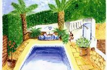 Painting of the pool side at Casa Romantica